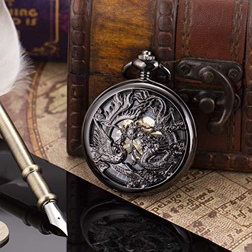 ManChDa Antique Mechanical Pocket Watch Lucky Dragon & Phoenix Black Skeleton Dial Roman Numberals with Chain