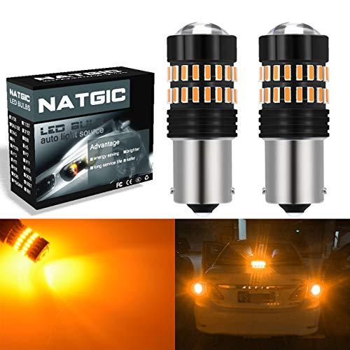 NATGIC 1156 BA15S P21W 7506 Bombillas LED Ámbar 2400LM 48-SMD 4014 Conjuntos de chips con proyector para luces de intermitentes Luces de respaldo de esquina (paquete de 2)