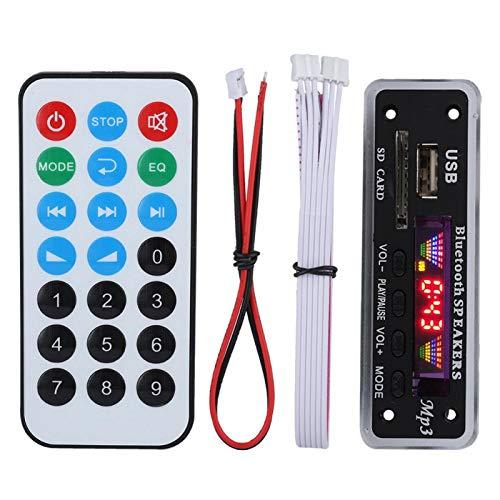 Tarjeta de decodificación Módulo de Audio Bluetooth 5.0 Pantalla LED Digital de 4 Colores con Control Remoto WMA WAV Ape FLAC(Negro)