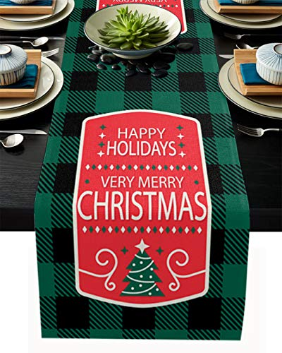 PIEPLE Happy Holiday Christmas Tree Cotton Linen Table Runner Baby-Shower, Merry Christmas Black Green Plaid Rectangle Tabletop and Dresser Scarves for Wedding/Picnic/Banquet 13' x 108'
