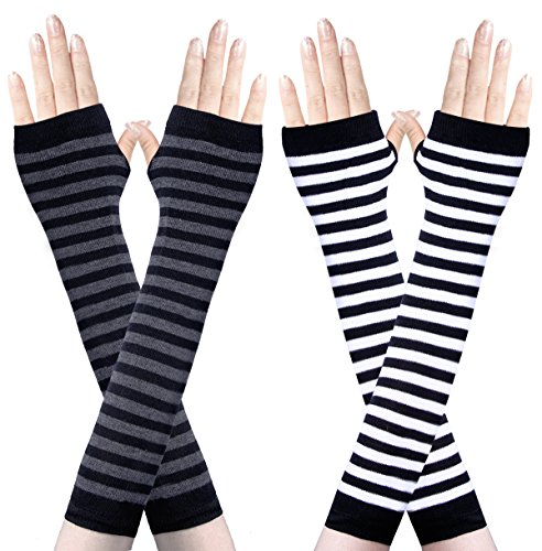 Amandir 2-4 Pairs Long Fingerless Gloves for Women Arm Warmers Knit Thumbhole Stretchy Gloves(Style 2)