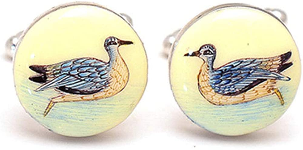 Rosec Jewels Unique Engraved Mens Brass Cufflinks, Vintage Animal Wedding Cufflinks Jewellery, Enamelled Gold Plated Duck Cuff Links, Custom Gifts Idea for Husband