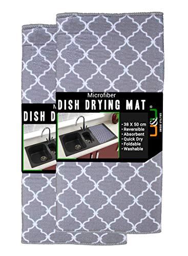 U & U UNIQUE UTILITIES Microfiber Dish Drying Kitchen Mat (Grey, 50 x 38 cm) Pack of 2