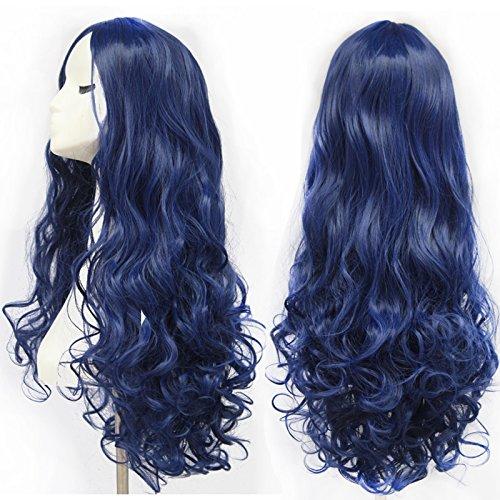 Peluca de cabello largo rizado color azul de alta calidad, pelucas de cosplay para mujeres de 70 cm