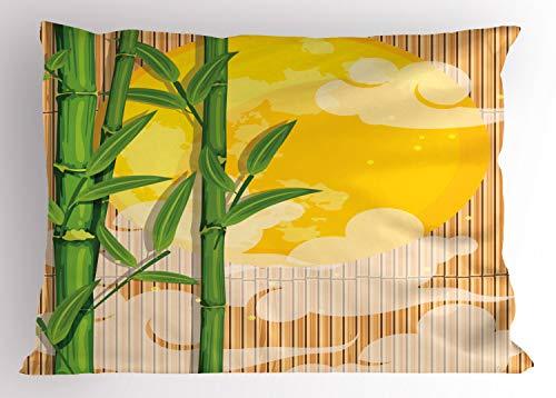 ABAKUHAUS asiatisch Kissenbezug, Bambus Vollmond Wolken, Dekorativer Standard King Size Gedruckter Kissenbezug, 75 x 50 cm, Gelb Grün Hellbraun
