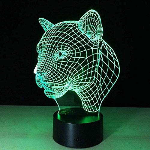 Dibujos animados leopardo animal 3D escritorio lámpara de mesa 7 color noche luz táctil lámpara niños familia Halloween vacaciones escuela regalo