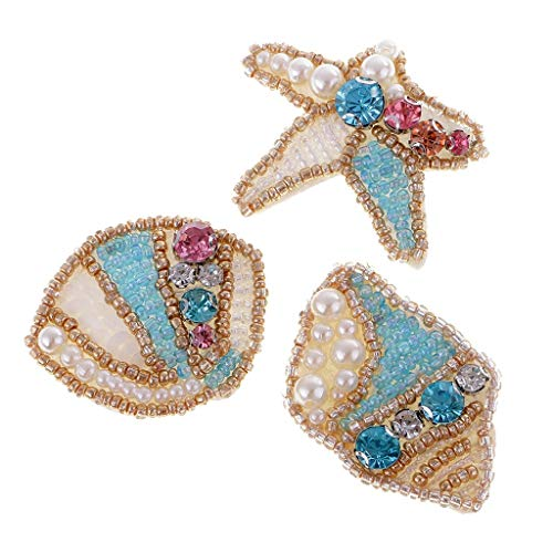 3 Pieces Pearl Applique Sewing Patches and Rhinestones Ocean Beach Theme Decor Applique fit for Sweater,Skirt,Hats etc