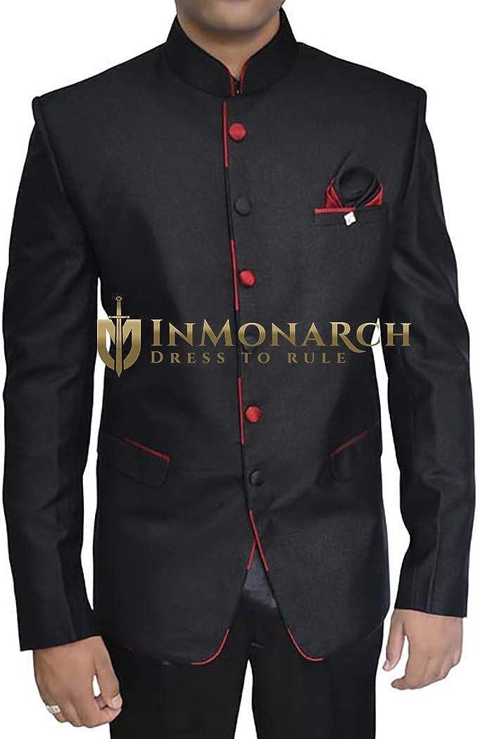 INMONARCH Mens Black 3 pc Jodhpuri Suit Classic TX11232