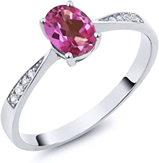 9e9cf63a3 10K White Gold Diamond Ring with 0.86 Ct Oval Pink Mystic Topaz