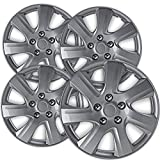 OxGord 16 inch Hubcaps Best for 2014-2016 Mazda 3 - (Set of 4) Wheel Covers 16in Hub Caps Silver Rim Cover - Car Accessories for 16 inch Wheels - Snap On Hubcap, Auto Tire Replacement Exterior Cap