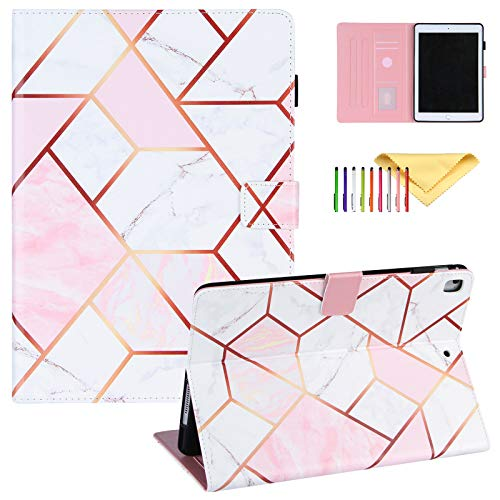 Uliking iPad 9.7 2018/2017 Case, iPad Air 2/1 Case, Pro 9.7 Cover with Pencil Holder, Marble Painting PU Leather Folio Flip Stand Smart Cover Multi Angle Viewing Stand, Pink White Marble