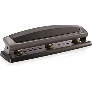 Swingline Desktop Hole Punch, Hole Puncher, Precision Pro, Adjustable, 2-3 Holes, 10 Sheet Punch Capacity, Black/Gray (74038)