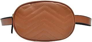 Everpert Women Pu Waist Packs Fanny Handbag Oval Shoulder Zipper Bag Purse/Pink