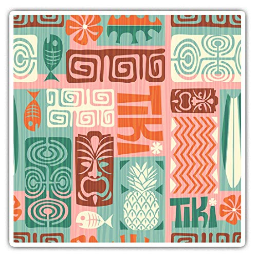 Awesome Square Stickers (Set of 2) 10cm - Pink Tiki Hawaii Surf Print Surfer Fun Decals for Laptops,Tablets,Luggage,Scrap Booking,Fridges,Cool Gift #12890