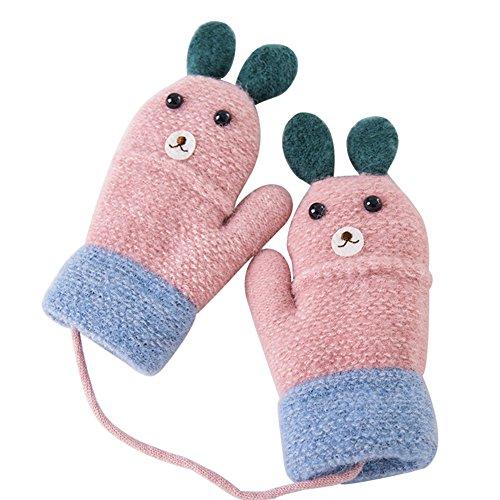 Dorapocket Kids Cute Cartoon Rabbit Gloves Toddler Baby Knitted Warm Mittens,Pink