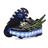 AIkuass USB Chargeable LED Light Up Double Roller Shoes Boys Girls Kids Wheeled