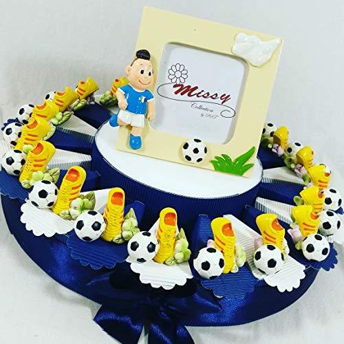 Torta bomboniera Calcio portaconfetti Compleanno Nascita Comunione con Scarpette Calcio e Pallone da appoggio con Fiori + Centrale portafoto + Confetti
