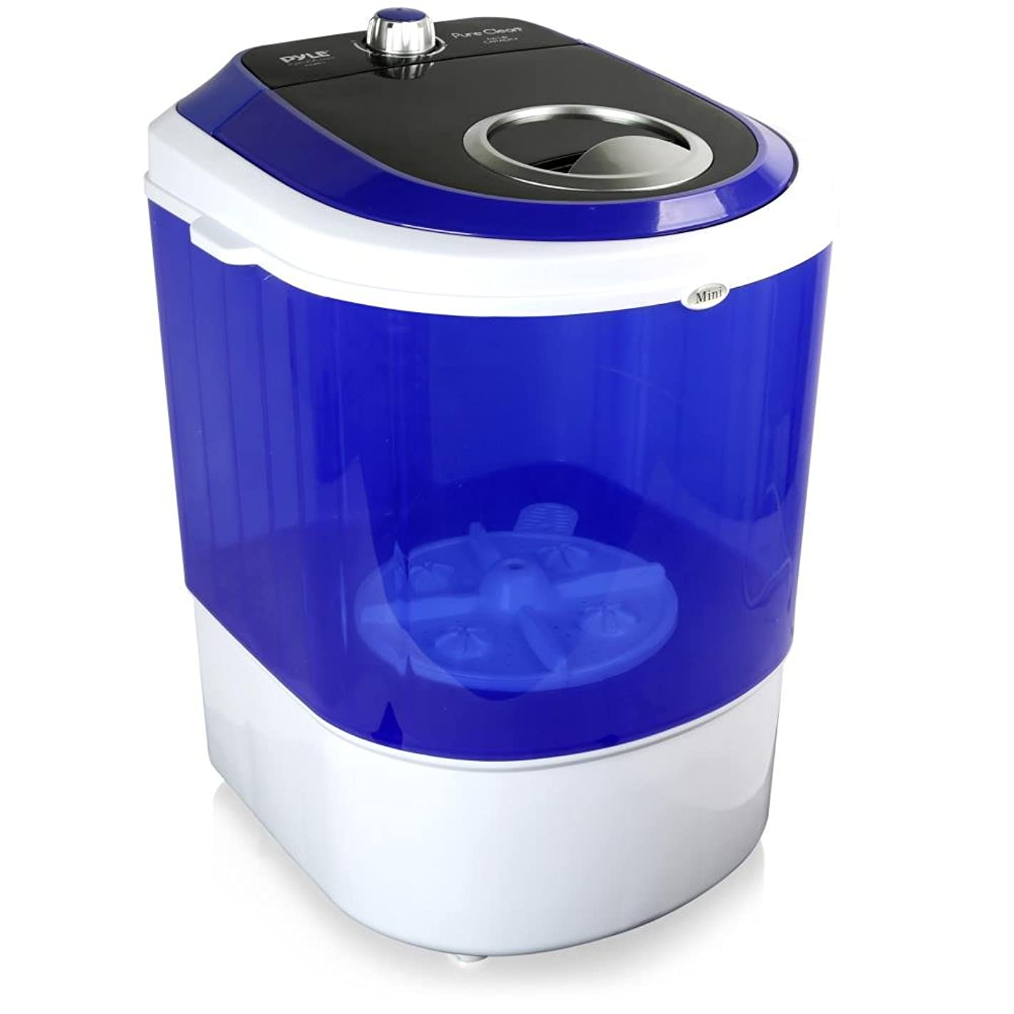 Pyle Upgraded Version Portable Washer - Top Loader Portable Laundry, Mini Washing Machine, Quiet Washer, Rotary Controller, 110V - For Compact Laundry, 4.5 Lbs. Capacity, Translucent Tubs - PUCWM11