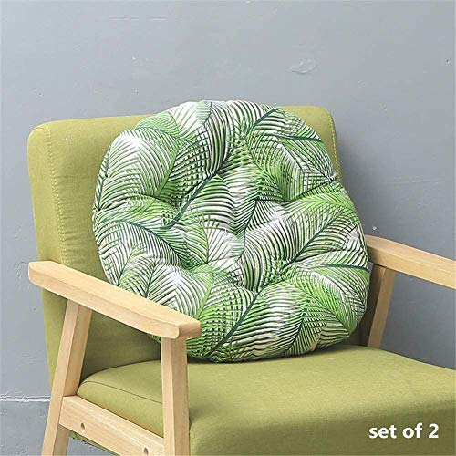 Floor Pillow Set Of 2 Round Cotton Linen Chair Seat Pads Printing Thicken Padded Cushion Set Of Quilted Design Breathable Seat Cushions 40x40 For Dining Room Kitchen Garden Indoor Outdoor Etc chair cu