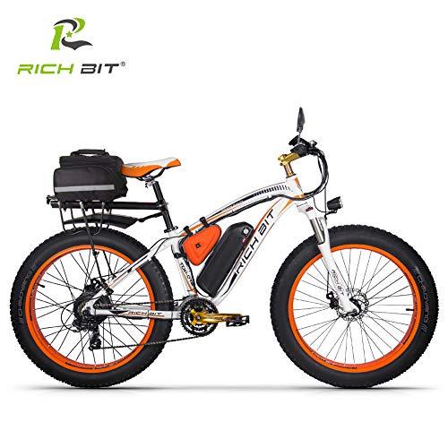 RICH BIT Bici elettrica TOP-022 1000W 26 pollici elettrico Fat Tire Snow Bicycle 48V * 17Ah Batteria agli ioni di litio Beach Mountain Ebike (Arancio bianco)