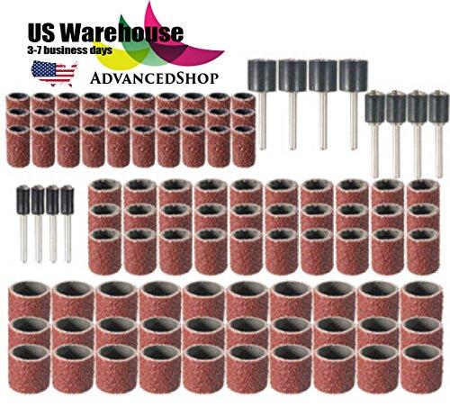 AdvancedShop 102 stks 120 Grit Drum Schuurkit Met 1/2 3/8 1/4 Inch SchuurMandrels Fit Dremel Rotary Tools US[ Magazijn] door