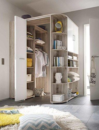 lifestyle4living Eckkleiderschrank, begehbar, Sand Eiche, Alpin-Weiß | Eckschrank mit Falttür, Drehtür, Kleiderstange, Kleiderhaken, Einlegeböden