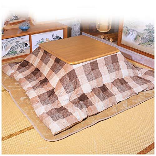 LZG Japanischer Kotatsu-Tisch mit Heizung und Decke, Bettdecke, Tatami-Futon-Kaffeetisch aus massivem Holz, quadratisch, groß für den Winter im Wohnzimmer, braun kariert