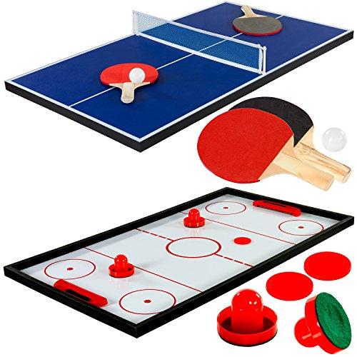 Maxstore Multigame Spieletisch Mega 15 in 1, inkl. komplettem Zubehör, Spieltisch mit Kickertisch, Billardtisch, Tischtennis, Speed Hockey uvm. in schwarzem Holzdekor - 4
