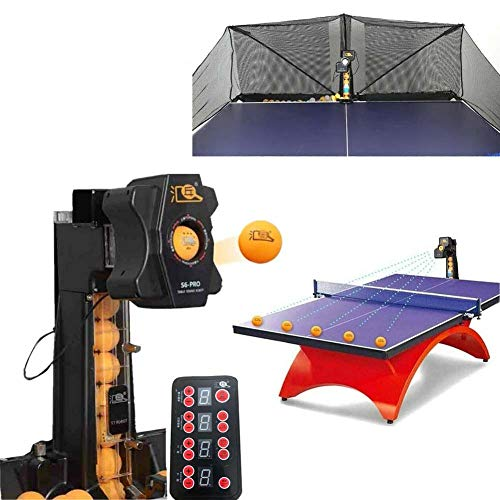 TABODD 50W Automatische Tischtennis Ballmaschine, S6-Pro Tischtennis Trainingsroboter Ping Pong Roboter 9 Spineinstellungen Automatic Launcher mit 100 Stück Tischtennisbällen und Recycling-Netzen