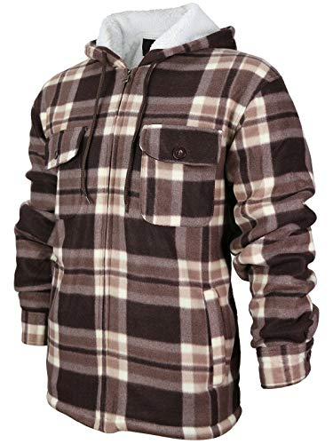 Men's Heavyweight Flannel Zip Up Fleece Lined Plaid Sherpa Hoodie Jacket (X-Large, MFJ130 - Brown)
