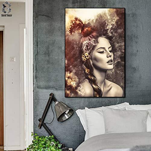 tzxdbh Vintage Meisje Tekens Canvas Schilderen 24x36'' Enorme Poster Print Home Decor Wall Art Foto's Voor Woonkamer Slaapkamer Schilderij & 40x50cm No frame A