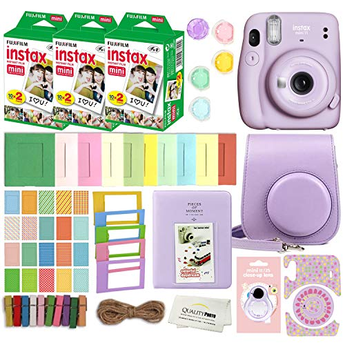 Fujifilm Instax Mini 11 Instant Camera with Case, 60 Fuji Films, Decoration Stickers, Frames, Photo Album and More Accessory kit (Lilac Purple)