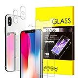 [4 Pack] QUESPLE 2 Pack Tempered Glass Screen Protector + 2 Pack Tempered Glass Camera Lens Protector for iPhone X - 3D Edge Anti Scratch HD Clarity Screen Protector
