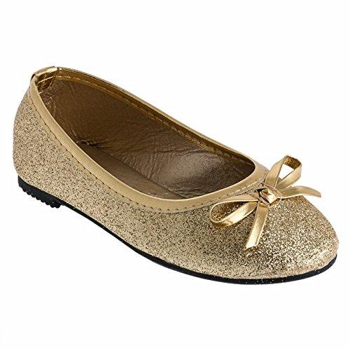 Eva Mode Festliche Mädchen Ballerinas Schuhe Glitzer Schleife in vielen Farben M527go Gold 24