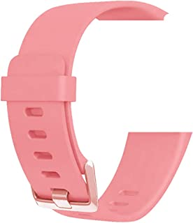 SMART Silicone Wristband Strap Band with Adjustable Buckle Compatible with Fitbit Versa/Versa 2 / Versa Lite (Pink, Size:Small)