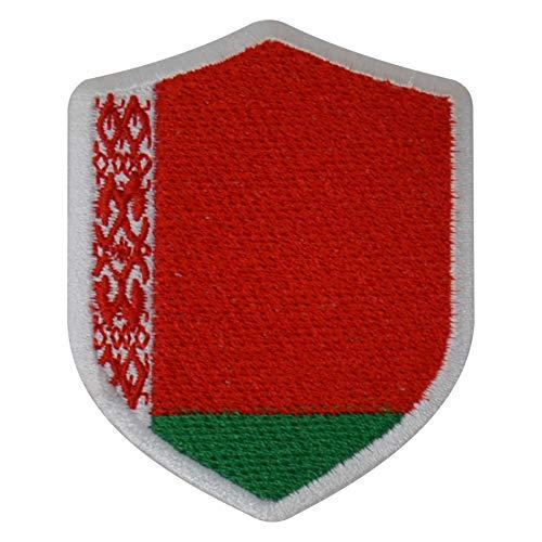 benobler FanShirts4u Aufnäher - WEIßRUSSLAND - Wappen - 7 x 5,6cm - Bestickt Flagge Patch Badge Fahne Belarus (weiße Umrandung)