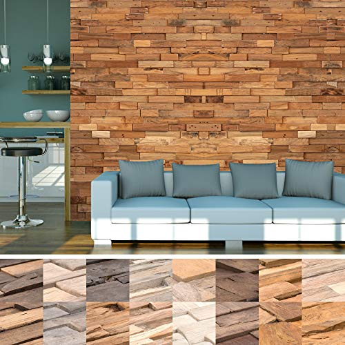 HORI® Wandverkleidung Wandpaneele aus Holz in 3D Optik I Modell: Altai Gummibaum I Inhalt: 1 Stück
