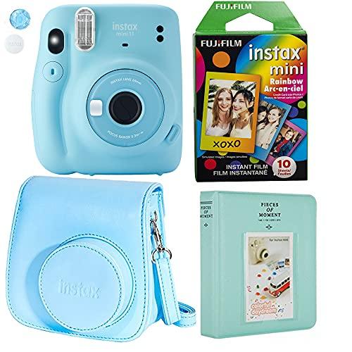 Fujifilm Instax Mini 11 Ice Blue Instant Camera Plus Original Fuji Case, Photo Album and Fujifilm Character 10 Films (Rainbow)