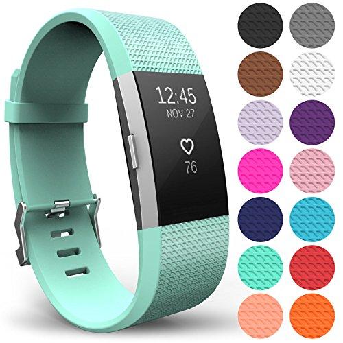 Yousave Accessories Armband Kompatibel mit Fitbit Charge 2, Ersatz Fitness Armband und Uhrenarmband, Silikon Sportarmband und Fitnessband, Wristband Armbänder für Fitbit Charge2 - Groß, Minzgrün