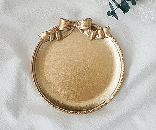longsheng Bandeja para servir joyas, plato de baratija, lazo, placa de resina, anillos, pulseras, pendientes, plato, cosméticos, organizador de joyas para el dormitorio del hogar