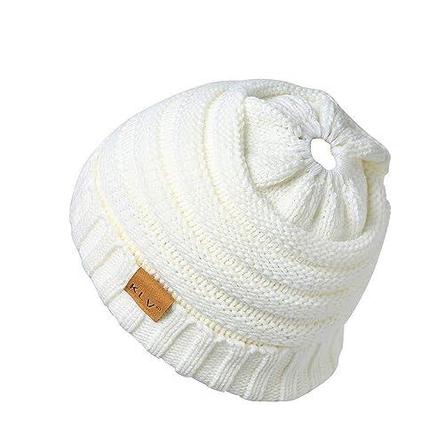 HGWXX7 Unisex Men Women High Bun Ponytail Baggy Warm Crochet Wool Knit Ski  Hat Skull Beanie af506d7e86