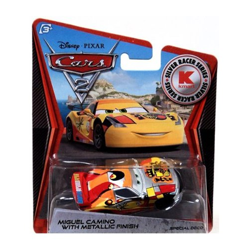 Disney Pixar CARS 2 Exclusive 1:55 Die Cast Car SILVER RACER Miguel Camino Wi...