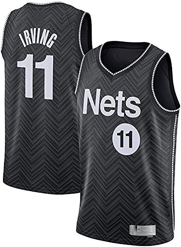 xiaotianshi NBA Brooklyn Nets DE Hombres # 11 Kyrie Irving Tela Transpirable Fresca Resistente al Desgaste Transpirable Vintage Basketball Jerseys Top Camiseta,Negro,M