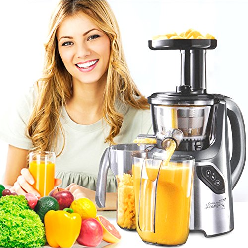 New Age Living SJC-45 Masticating Slow Juicer – Juices Whole Fruits, Vegetables, Greens, Wheat Grass & More - Make Pro Quality Healthy Juices At Home – Stainless Precision Strainer - BPA FREE (GREY)