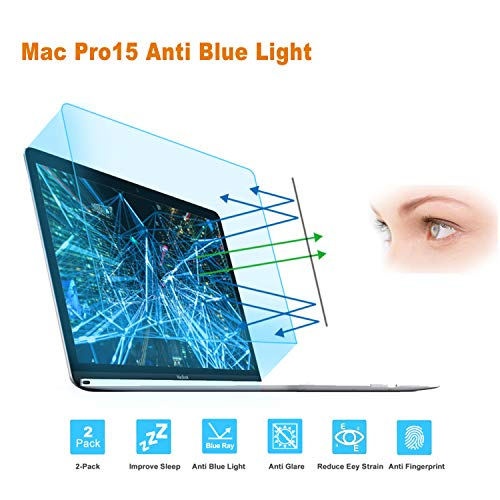 FORITO Anti Blue Light Anti Glare Screen Protector Compatible 2016-2019 MacBook Pro 15 A1707 A1990, Eye Protection Screen Protector for Apple MacBook Pro 15 Inch Model A1707 A1990