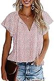 CERYIWER Women's Short Sleeve Casual Shirts Boho Floral Print V Neck Chiffon Tops Loose Blouses (Pink, XL)