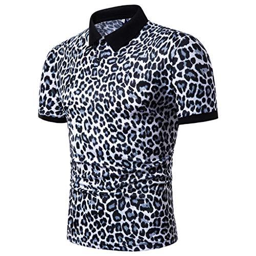 Worsworthy Tops de Leopardo para Hombre Solapa de Verano Camisas de Manga Corta Casuales Atractivos de Europa y América Van Camiseta Tops