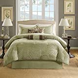 Madison Park Freeport Queen Size Bag-Green, Jacquard Palm Leaf – 7 Pieces Bedding Sets – Peach Skin Fabric Bedroom Comforters, Sage