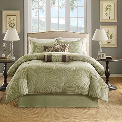"Madison Park Comforter Scenic Design All Season Hypoallergenic Down Alternative Set, Matching Bed Skirt, Decorative Pillows, Queen(90""x90""), Freeport, Palm Leaf Green"