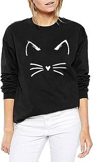 JELLYKIDS Women Cute Cat Print Loose Sweatshirt Long Sleeve Casual O Neck Casual Pullover Top